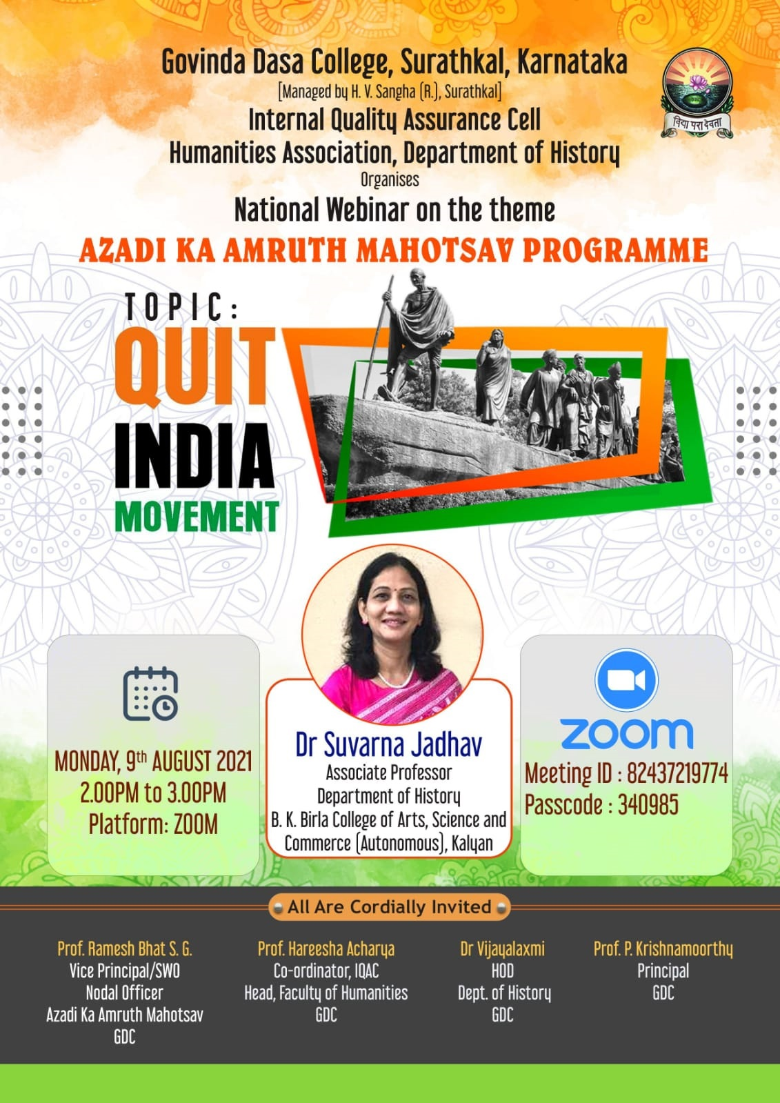 National Webinar on Quit India Movement-2021
